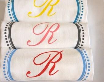 3 Custom Monogrammed Towels,TeaTowels ,Flour Sack Towels,Monogrammed Towel,Kitchen Towel,Monogram Towel, Modern Vintage Market
