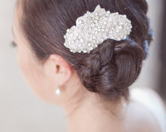 GIANNA - Beaded Rhinestone Bridal Hair Piece, Hair Clip, Hair Comb