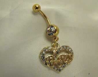 Belly Ring,  Clear Micro Pave Paris Charm in Gold,  Womens Gift  Handmade
