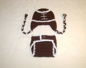 Crochet Football Hat and Diaper Cover Photo Prop Set - Available in Newborn, 3 to 6, 6 to 12 and 12 to 24