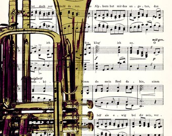 FREE SHIPPING WORLDWIDE - Trumpet on a Vintage 1900 Music Sheet