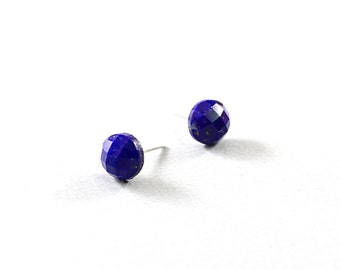 Lapis lazuli stud earrings sterling silver studs blue jewelry small studs blue studs lapis stud earrings, gemstone studs
