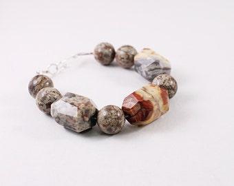Chunky gemstone bracelet, big stone bracelet, agate and coffee jasper jewelry, chunky bracelet, brown bracelet