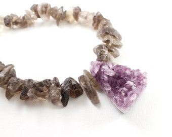 Rough stone necklace - amethyst druzy jewelry, smoky quartz raw crystal necklace, chunky druzy necklace, rough smoky quartz necklace