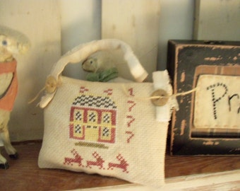 Primitive Cross Stitch Saltbox and Bunnies Hanging Pillow Sachet Shelf Tuck Pinkeep