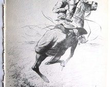 Cowboy Drawing, Horse Sketch, Vintage Horses, Cowboy on a Horse, Rodeo Rider, Cabin Art, Horse, Horse to Frame, Horse Lover Gift