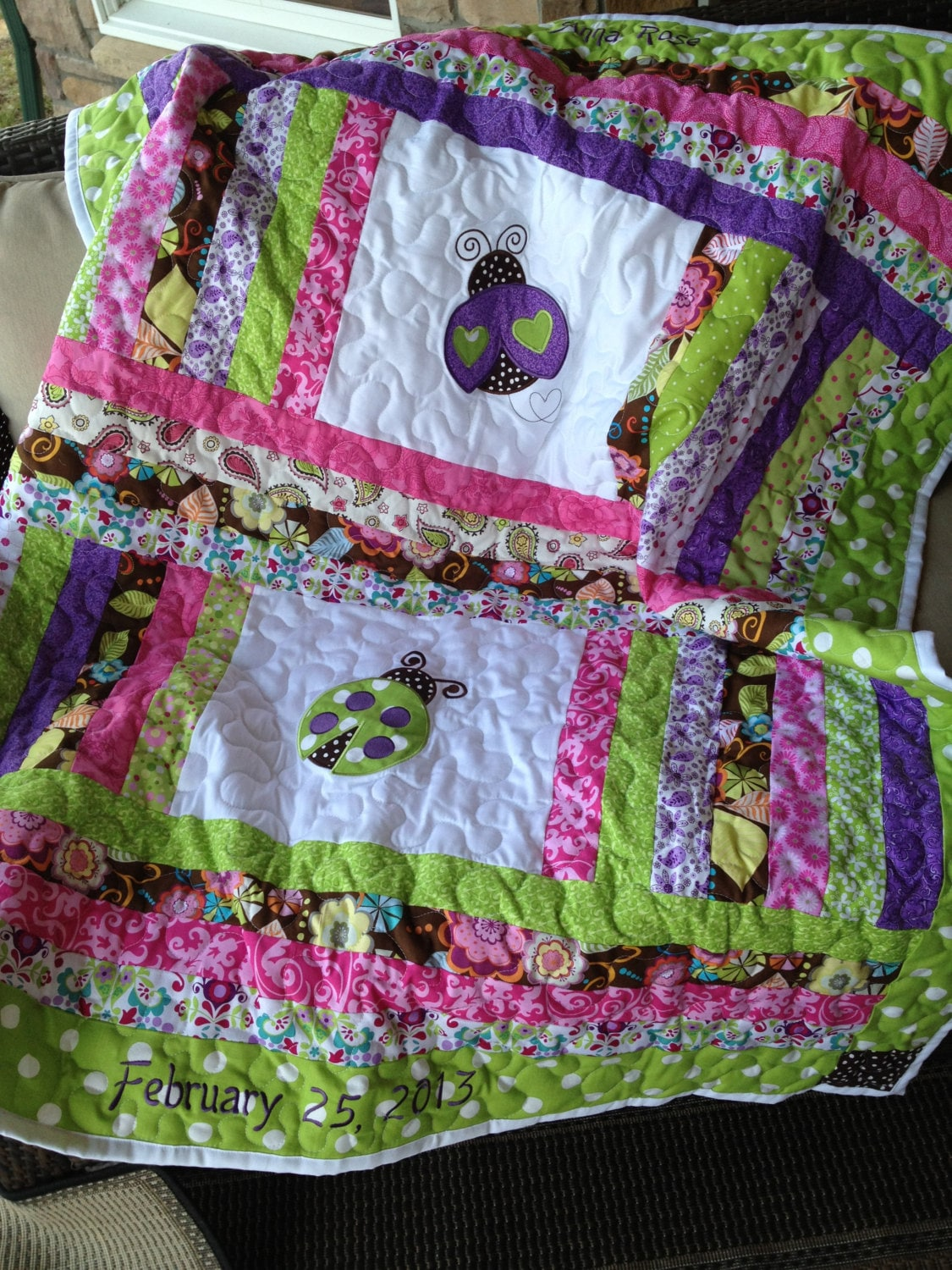 Lime Green Pink Brown And Purple Baby Girl Ladybug Quilt
