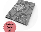 A4 2013 Planner or notebook with fabric cover, Large journal - MADE TO ORDER, you choose the fabric, 8.5 x 12 inches or 21 x 30cm