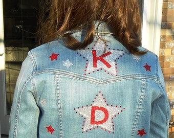 Custom Jean Jacket with Glitter and Rhinestones