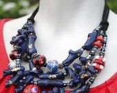 Nautical Statement Necklace / Navy Necklace / Coral Bib Necklace / Red, White, and Blue Jewelry / Anthropologie Inspired