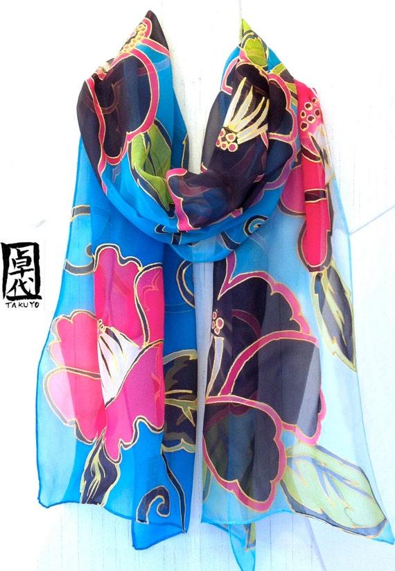 Hand painted silk scarf, Blue Silk Scarf. Black Camellias Floral Scarf, Silk Scarves Takuyo. Silk Chiffon Scarf. 13x68 in. In Stock.