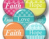 "Bottle Cap Images FAITH HOPE LOVE Digital Collage Sheet (No.1) 1"" Circles, Instant Digital Download, pendants, Cabochons, Magnets, Crafts"