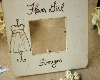 SET of 3 Flower Girl Large Custom Frames Personalized with Name and THEIR Flower Girl Dress Rustic Wedding Gift