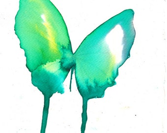 spring green and turquoise butterfly original watercolour and ink painting