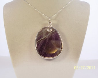 Amethyst Sterling Silver Large Pendant Necklace