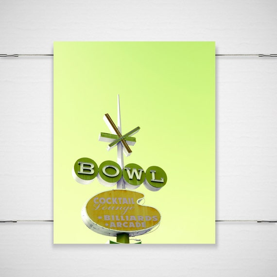 """Retro Sign Photography / colorful bright lime neon mid-century modern bowling sign green whimsical / 8x10 photograph print/""""Chartreuse Bowl"""""""