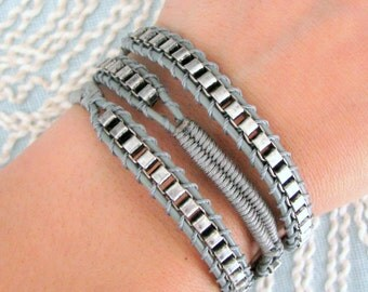 Chain Wrap Bracelet with Macrame in Grey Thread and a Button Clasp
