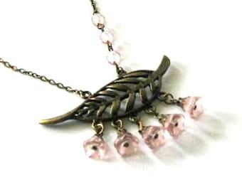 Light pink flower necklace jewelry, antique brass bronze leaf necklace, pink Czech bell flowers, brass leaf necklace,vintage victorian style