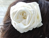 """satin rose hair barrette - large 4 1/2"""" ivory satin flower fascinator with pearl centre on a clip slide pin wedding"""