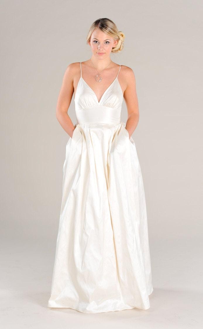 Modern V Neck Wedding Dress : Modern simple v neck wedding dress with by puremagnoliacouture