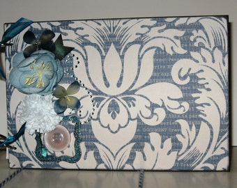 Premade Chipboard Album in Cheery Blue and White with Yellow 6x9 inches