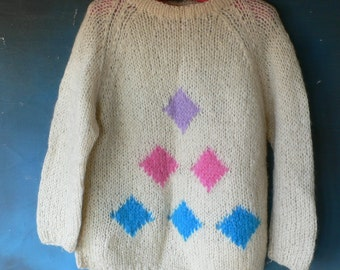vintage Ladies' mohair sweater cream colored bright diamonds from Diz Has Neat Stuff