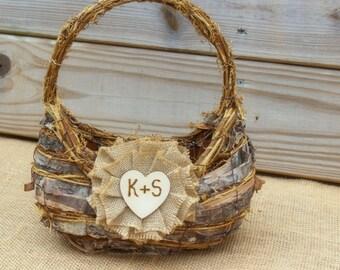 Flower Girl Basket Birch Bark Rustic Woodland Wedding Burlap Flower Personalized