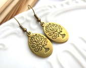 Antique Brass Wisdom Tree Earrings