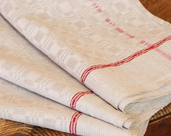 A Set of 3 Vintage Matching French Linen Kitchen Tea Towels