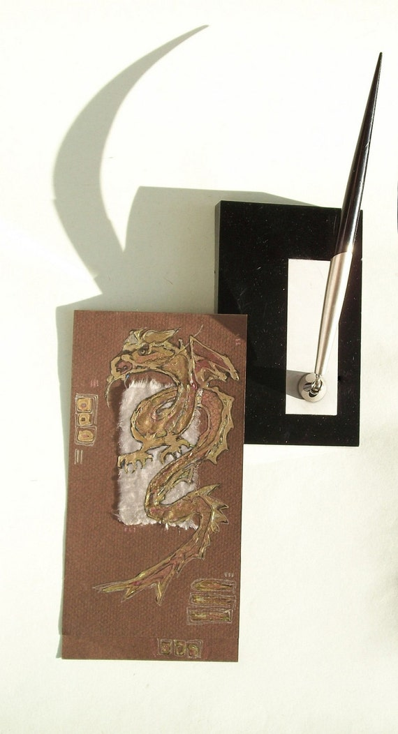 Golden dragon - blank greeting card for any event