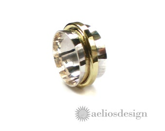 Sterling Silver and Bronze Spinner Ring