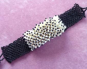 Beaded Wrap Bracelet Black White Iridescent