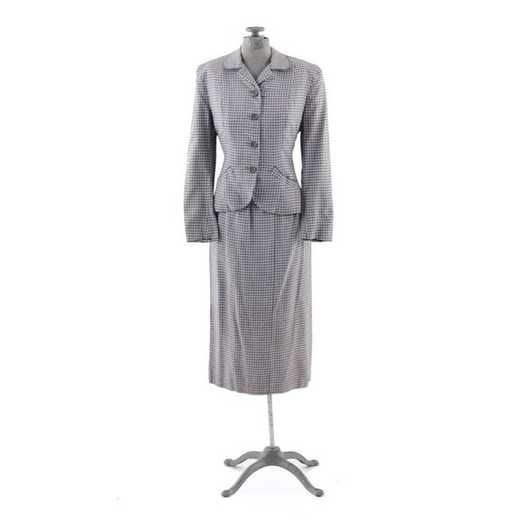 Vintage 1940's Pink & Blue Tailored Art Deco Hourglass Two Piece Suit XS