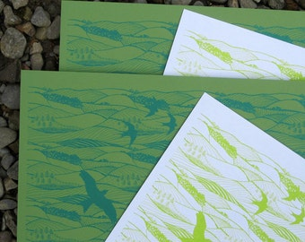 4 sheets hand  silkscreen printed  wrapping paper in Hills and Dales design