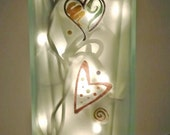 RETRO HEARTS Recycled Glass Bottle Accent Lamp/Light-Great Gift Idea