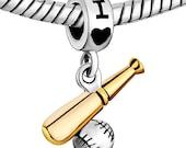 I Love Baseball Dangle Charm - Sports Baseball Dangle Charm - Fits ALL European Charm Bracelets