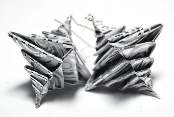 Origami Earrings Dangle Earrings Modern Earrings Paper Earrings - silver shiny spiral