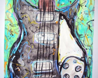 Beatles, John Lennon Inspired Rickenbacker Electric Guitar Painting