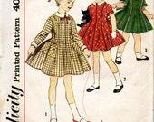 vintage 1960s childs DRESS simplicity sewing pattern 3567 size 5 jonny collar PRINCESS seams cuffs retro PARTY