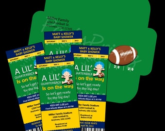Printable - Football Baby Shower - Ticket Invitations &  Envelope - Custom Personalized