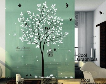 tree wall decal nursery wall sticker office wall decal bedroom wall decor home decor wall hanging - Tree with birds and Cage