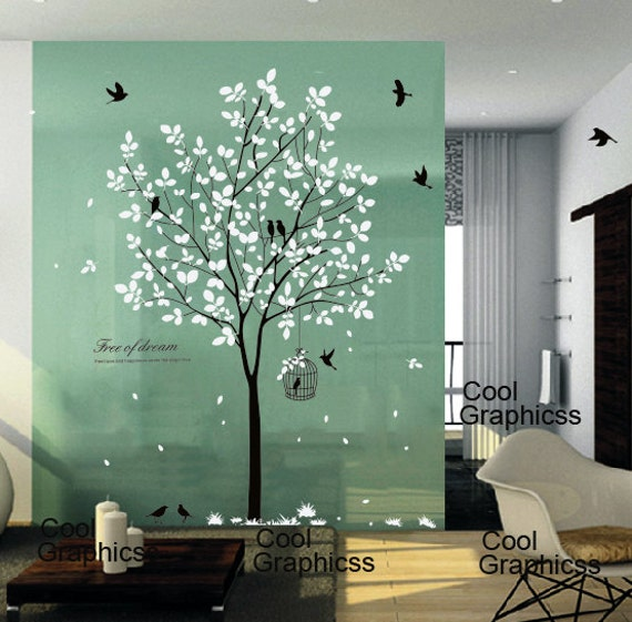 tree wall decal nursery wall sticker office wall by coolgraphicss - Bedroom Wall Quote Stickers