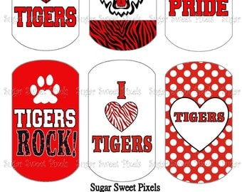 INSTANT DOWNLOAD Tigers School Mascot Red Digital Dog Tag Images 4x6 sheet