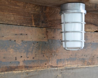 Vintage Industrial McPhilben Explosion Proof Cage Lights, Newly Wired