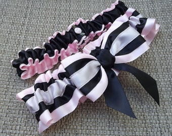 Naughty Lady Pink and Black Wedding Garter Set/   Art Deco  Wedding Garter Set/ Rockabilly Garter