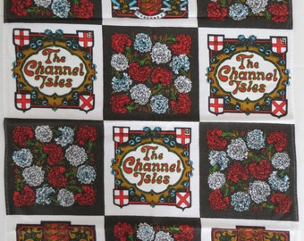 Vintage Towel, Sreenprinted Towel,  Channel Isles, Great Britain, United Kingdom, Europe. Kitchen Towel, Cotton Tea Towel, Carnations, Retro