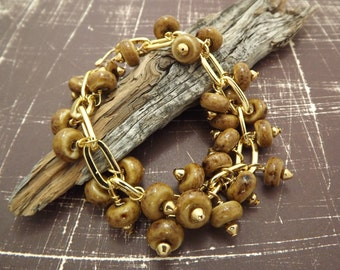 Ceramic and Gold Dangle Bracelet