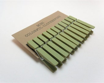 Mini Clothespins Celery Green Set of Ten (10)
