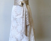 Elegant wedding dress, cocktail length, Ivory lace over light champagne matte satin, handmade in Canada