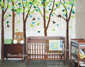 wall decal nursery wall decal baby wall decal office wall decal flying birds decal bedroom decal-6 Birch Tree with Colorful leaves